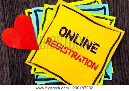 Writing Text Showing  Online Registration. Concept Meaning Register Web Subscription Subscribe Writt