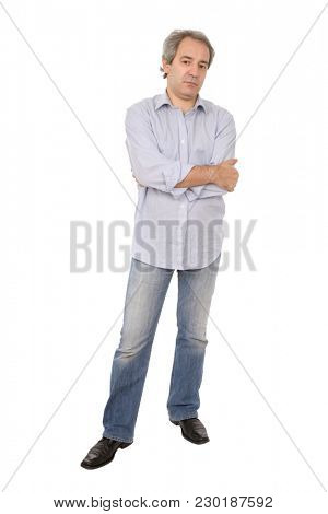 mature casual man full body in a white background
