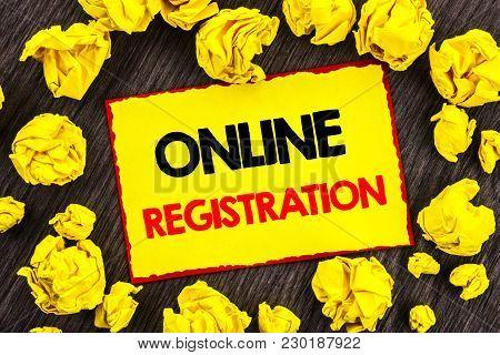 Handwriting Announcement Text  Online Registration. Conceptual Photo Register Web Subscription Subsc