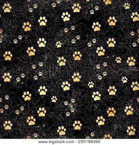 Gold Paw Print Seamless Pattern. Seamless Pattern Of Animal Gold Footprints. Dog Paw Print Seamless