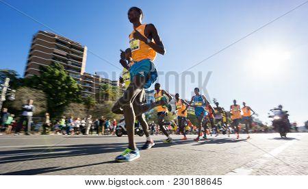 Valencia - November 16: Leading Group Of Runners Participate In Valencias Marathon On November 16, 2