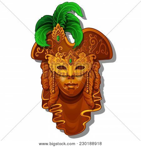 A Luxurious Mask For Carnival Isolated On White Background. Vector Cartoon Close-up Illustration.