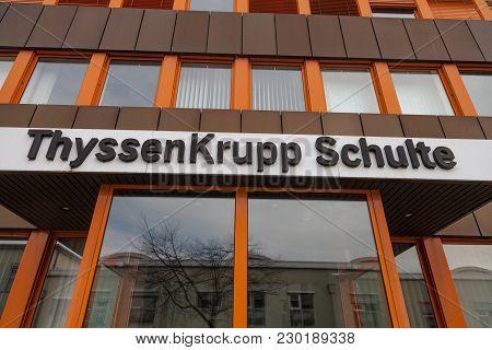 Nuernberg / Germany - March 4, 2018: German Steel Producer Thyssenkrupp Logo On Entrance Building.