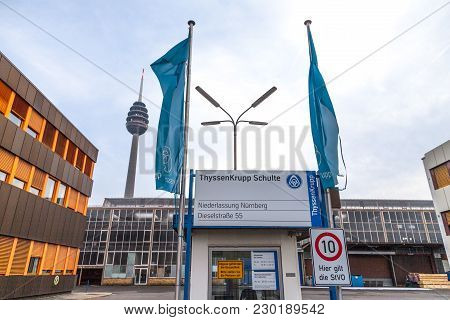 Nuernberg / Germany - March 4, 2018: German Steel Producer Thyssenkrupp Logo On Entrance Building.