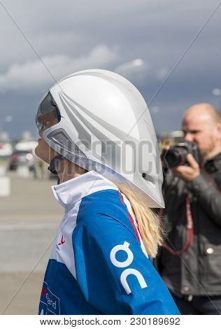 Reykjavik, Iceland - June 19, 2013: Female Participant Waits For The Start Of Wow Cyclothon, A Non-s