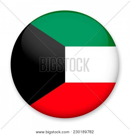 Flag of Kuwait in the form of a round button with a light glare and a shadow.