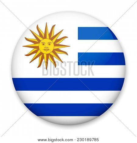 Flag of Uruguay in the form of a round button with a light glare and a shadow.
