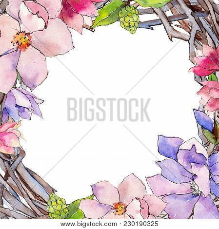 Wildflower Magnolia Flower Frame In A Watercolor Style. Full Name Of The Plant: Magnolia. Aquarelle