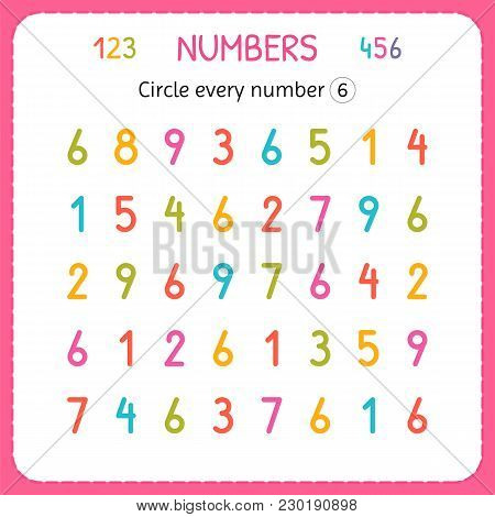 Circle Every Number Six. Numbers For Kids. Worksheet For Kindergarten And Preschool. Training To Wri