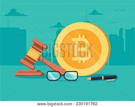 Cryptocurrency Legislation Flat Isometric Vector Concept. Signed Document With Bitcoin And Gavel On