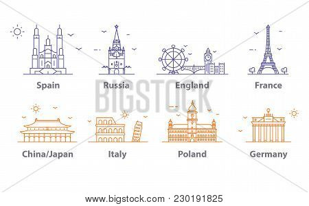 Landmarks Icons Set, World Capitals Symbols. France And England, Russia And Spain, France And China