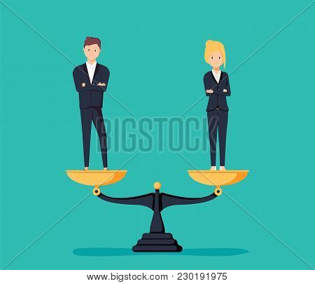 Business Gender Equality Vector Concept With Businessman And Businesswoman On Scales On The Same Hei