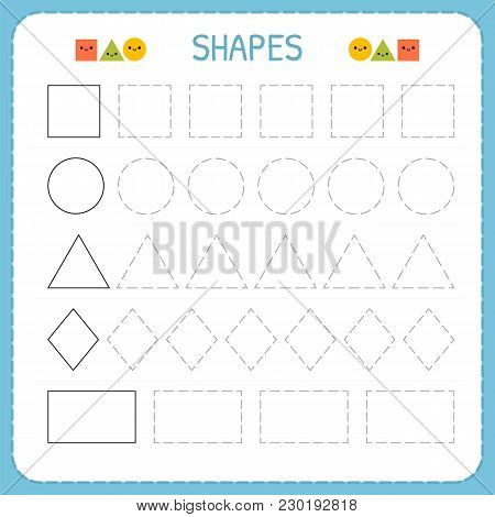 Learn Shapes And Geometric Figures. Preschool Or Kindergarten Worksheet For Practicing Motor Skills.