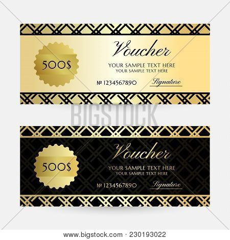 Gold Gride. Gift Vouchers Template Collection. Vector Decorative Horizontal  Flayers