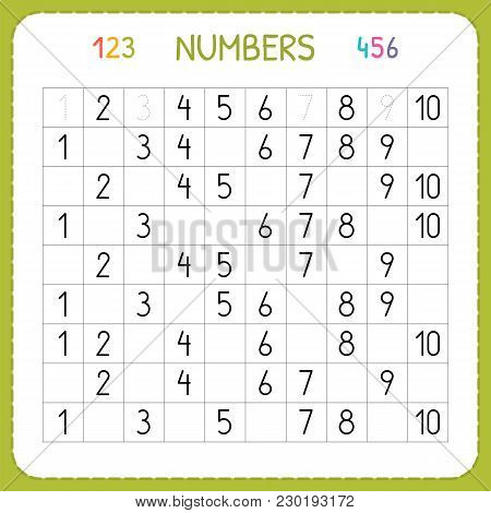 Numbers For Kids. Worksheet For Kindergarten And Preschool. Training To Write And Count Numbers. Exe
