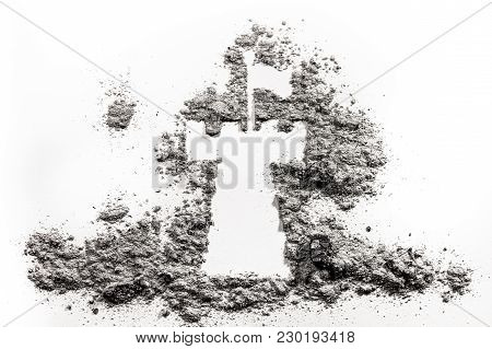 Tower, Fortress Or Castle Ruin Silhouette Drawing Made In Ash Or Dust As Old Historical Architecture