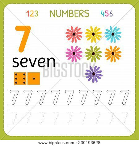 Numbers Tracing Worksheet For Preschool And Kindergarten. Writing Number Seven. Exercises For Kids.
