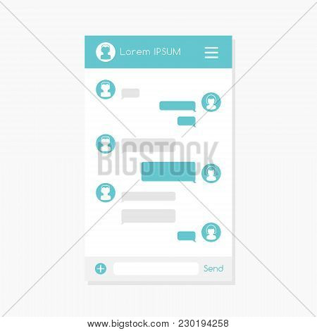 Mobile Chat Dialog Template With Empty Message Bubbles.