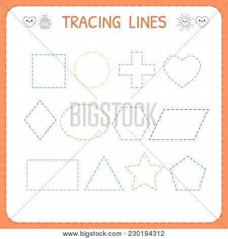 Trace Line Worksheet For Kids. Working Pages For Children. Preschool Or Kindergarten Worksheet. Trac