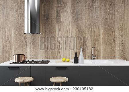 Wooden Wall Loft Kitchen Interior With White And Gray Countertops. A Table With Stools. A Close Up.