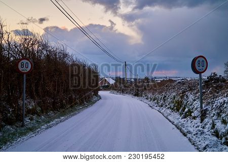 Icy Winter Road In Bannow County Wexford Ireland In March 2018.
