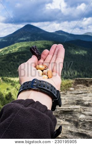 Charge Energy. Snack In The Mountains. Protein In The Campaign. Vertical Shot.