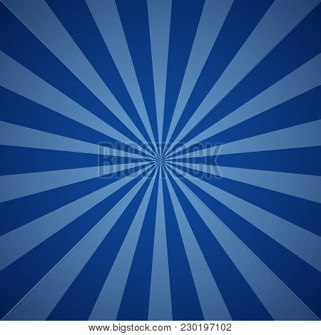 Dark Blue Grunge Sunbeam Background. Sun Rays Abstract Wallpaper. Vector Illustration