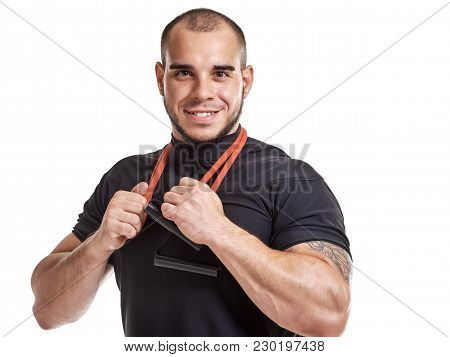 Happy Strong Healthy Guy Posing With Elastic Expander