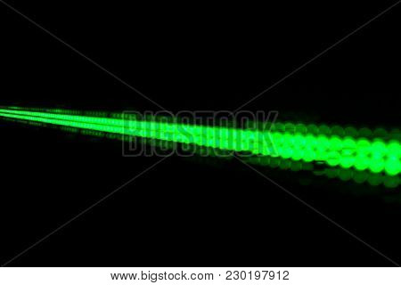 Abstract Background with Green Lights, Green Stretch of LED Lights, Shiny Dots, Dark Green Cool Background, Network Concept, LED Lights Outdoor Matrix Board