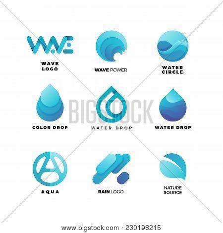 Abstract Gradient Water Logo Set. Aqua  Wave Geometric Logo Vector Illustration. Nature Elements, Al