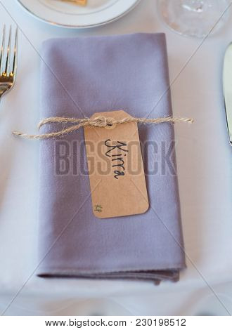 Wedding Reception Seating With Folded Napkin Name Tags To Create A Seating Assignment For This Beaut