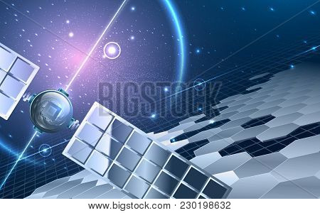 Abstract Universe Theme. Including Satellite ,stars, Hexagon Segments, Space With Violet Glow, Solar
