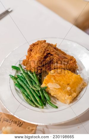 Southern Fried Chicken Plated At This Beautiful Wedding Reception At A California Winery In Autumn O