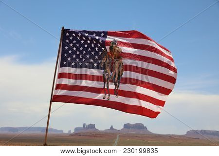 Oljato-monument Valley, Arizona, Usa - July 06, 2017: Flag Of Indigenous Navajo Indians Against The