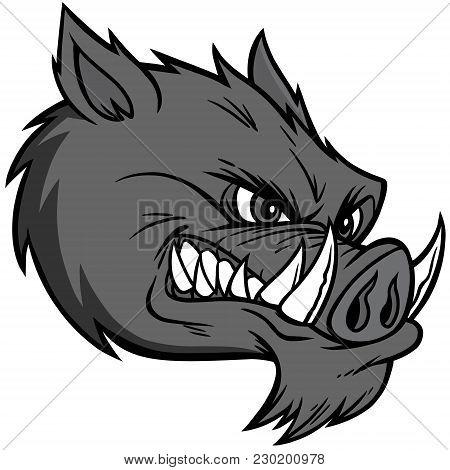 Razorback Mascot Extreme Illustration - A Vector Cartoon Illustration Of A Razorback Mascot.