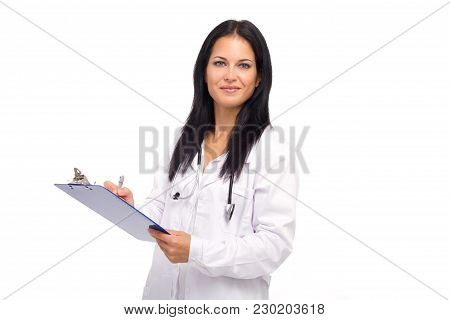 Healthcare And Medical Concept Smiling Female Doctor
