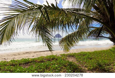 The Diamond Rock And Caribbean Beach , Martinique Island, French West Indies