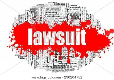 Lawsuit Word Cloud Concept On White Background, 3d Rendering.