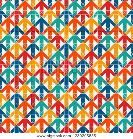 Bright Modern Print With Interlocking Arrows. Contemporary Abstract Background With Repeated Pointer