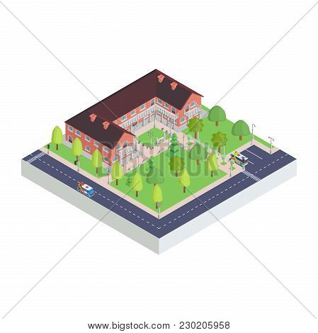 Complex Isometric Icon Of The City Museum Drawing Vector