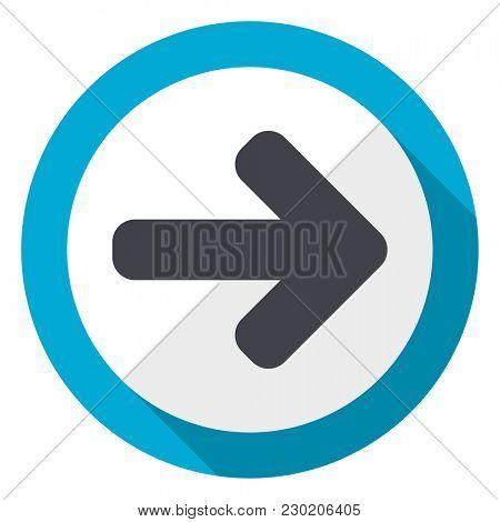 Right arrow blue flat design web icon