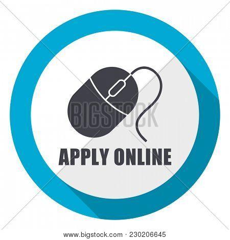 Apply online blue flat design web icon