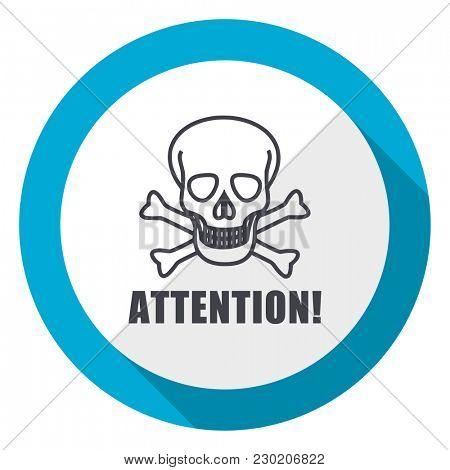 Attention skull blue flat design web icon