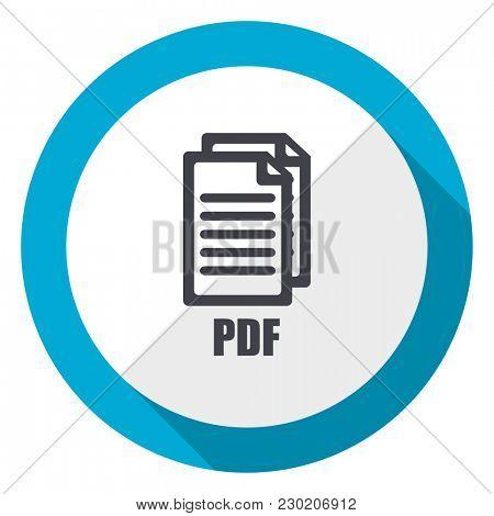 Pdf blue flat design web icon ,