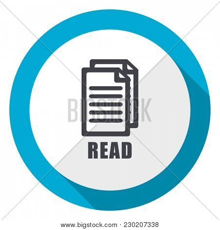 Read blue flat design web icon