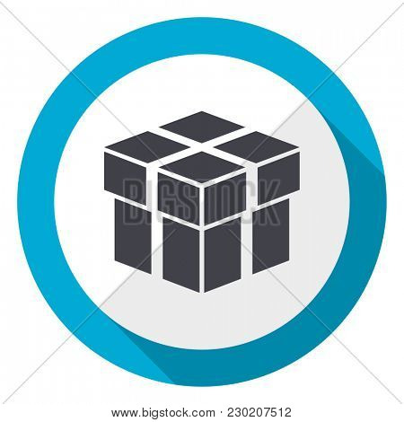 Box blue flat design web icon
