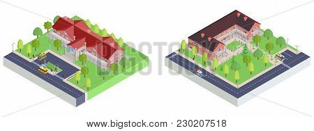 Collection Of Isometric Icons Museum And School Drawing Vector
