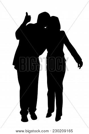 Happy Couple With Thumb Up. Isolated White Background. Eps File Available.
