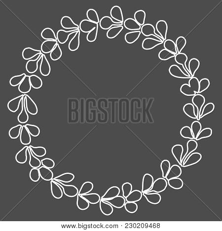 Grey Laurel Wreath Vector Frame On White Background
