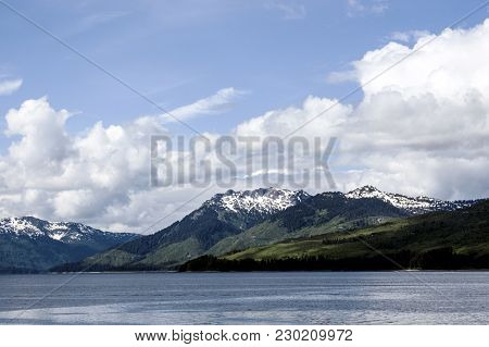 Juneau Mountains Scenery Ocean Landscape Nature Blue